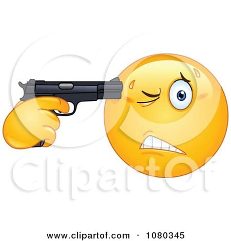 Suicidal Emoticon Holding A Gun To His Head Posters, Art