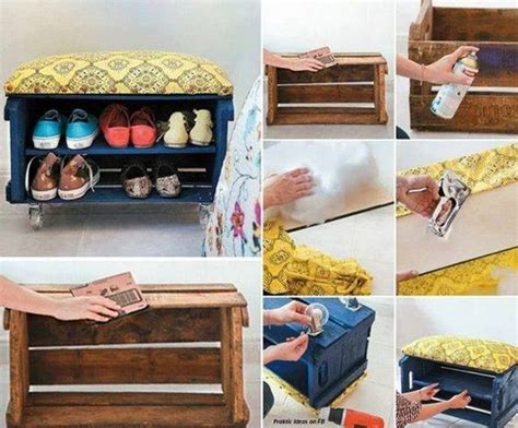 do it yourself shoe storage shoe rack bench made out of crates do it yourself