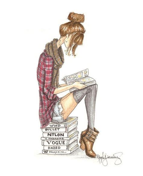 Reading Is Fashionable by The Reader Series Grunge Fashion Illustration By