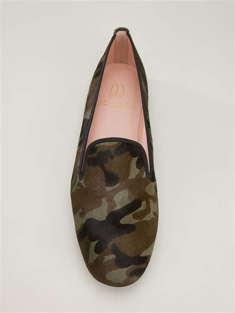 pretty green loafers lyst pretty loafers camouflage slipper in green