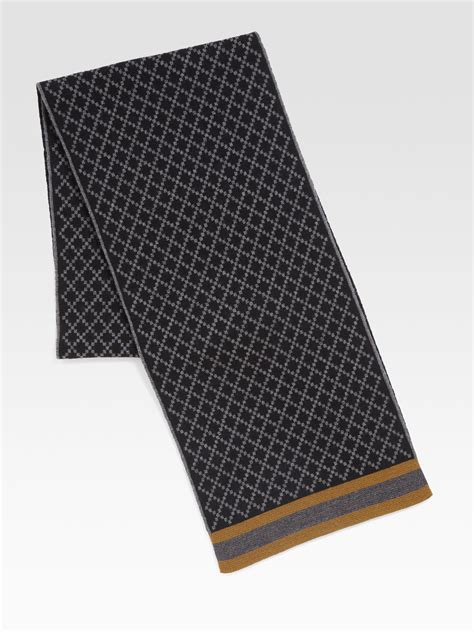 black gucci pattern gucci diamante pattern knit scarf in black for men lyst