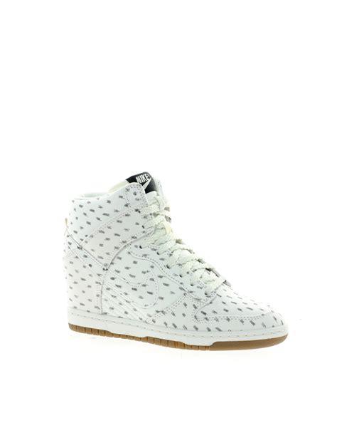 nike wedge sneakers white nike dunk sky high top white wedge sneakers in green
