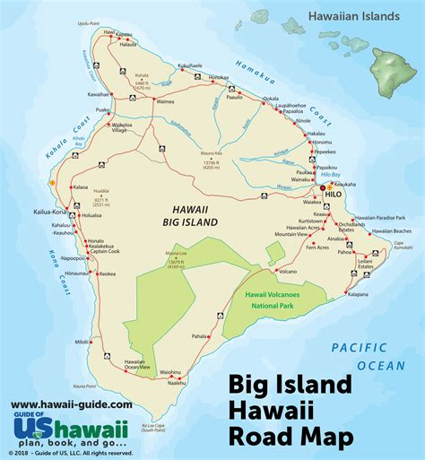 map of big big island of hawaii maps