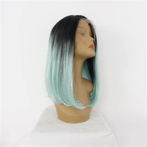 Handmade Wigs - handmade fashion ombre green synthetic lace front wig