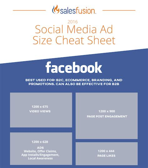 advertising templates for facebook facebook ad size cheat sheet template salesfusion