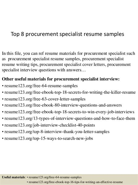 Procurement Analyst Cover Letter by Procurement Specialist Resume Sles Resume Ideas