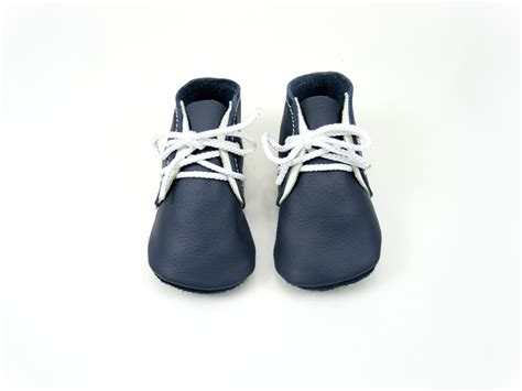 Handmade Leather Baby Shoes - handmade leather baby shoes soft soled baby booties navy
