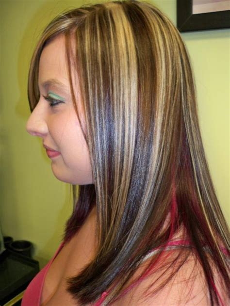 chunking highlights dark hair pictures chunky red lowlights in blonde hair