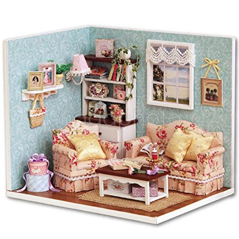 Diy Do It Yourself Miniature House Baby Room birthday kits diy wood dollhouse miniature furniture cover doll house room 3 ebay