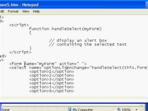 tutorial html select option javascript handling the select onchange event part 1 of