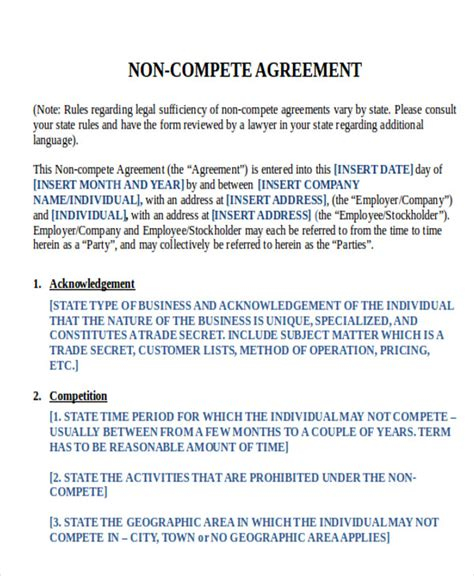 9 Sle Word Non Compete Agreements Sle Templates Standard Non Compete Agreement Template