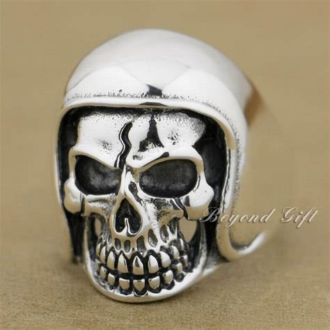 Skull Ring Helmet linsion 925 sterling silver football helmet hat skull ring mens biker rock style 9q011 all