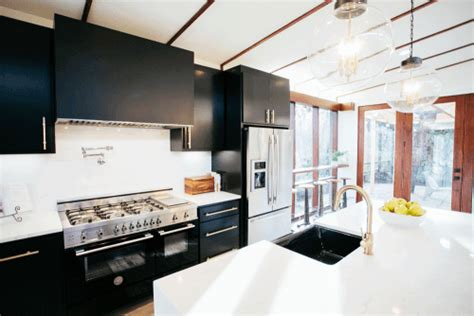shop home styles black midcentury kitchen islands 2 stools shop house dallas fixer upper goes mid century