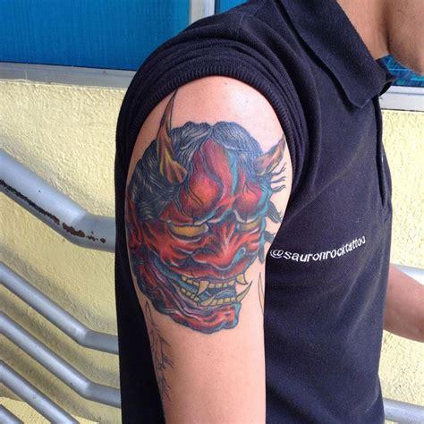 hannya mask tattoo shoulder 21 mask tattoo designs ideas design trends premium