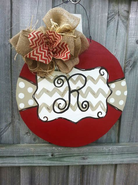christmas ornament door hanger with initial