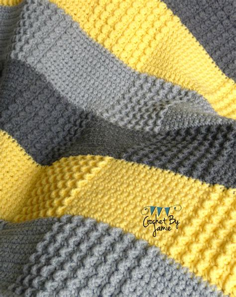 grey pattern blanket crochet gray yellow baby blanket made to order