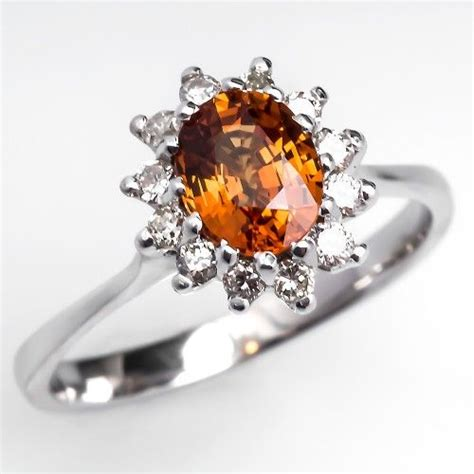 orange sapphire engagement ring colored gemstone