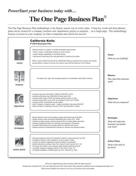 one page business summary template one page business plan template free business template