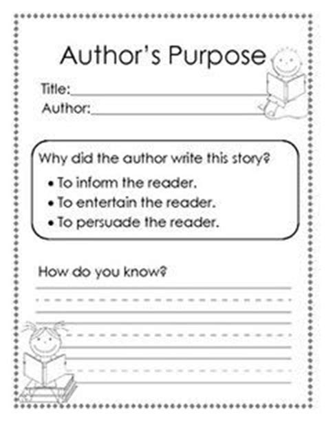 Author S Purpose Worksheet by Grade Author S Purpose Chisholm Ridge Celebrations