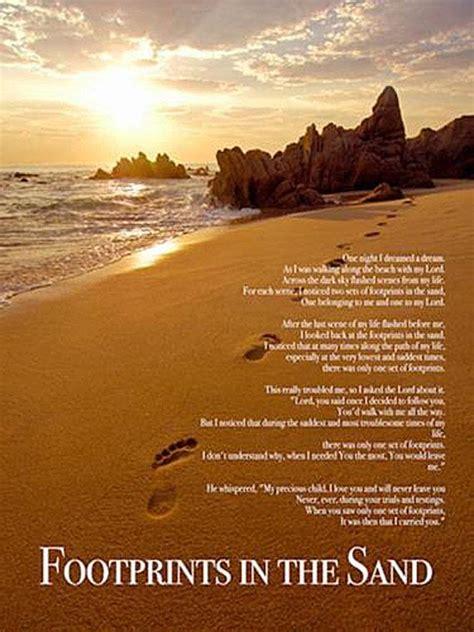 footprints   sand poster print god christian