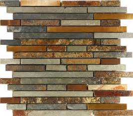 Mosaic Tile Backsplash Kitchen by Sample Rustic Copper Linear Natural Slate Blend Mosaic