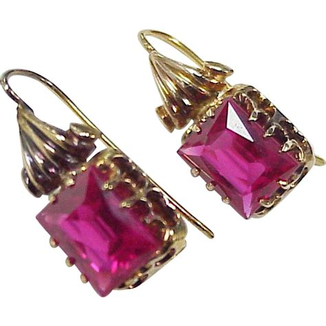 Retro Drop Earring retro drop earrings 14k gold ruby 6 0 carats total lab