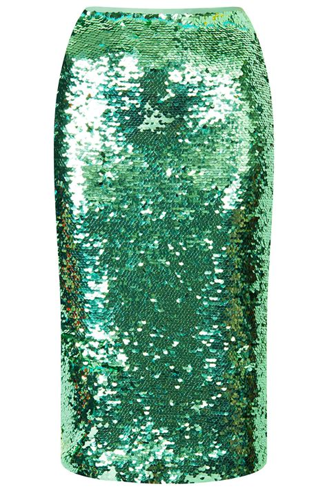 topshop mint sequin pencil skirt in green mint lyst