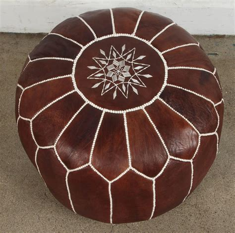 moroccan ottoman pouf moroccan brown leather pouf for sale at 1stdibs