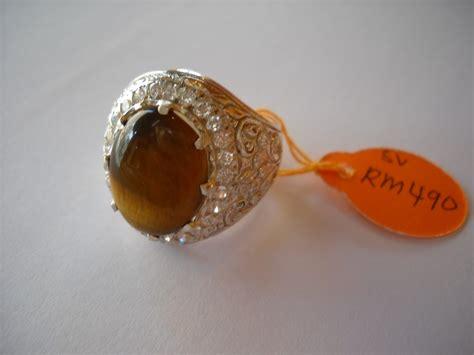 Cincin Emas Eye nazman enterprise koleksi cincin perak lelaki bertatahkan batu tiger