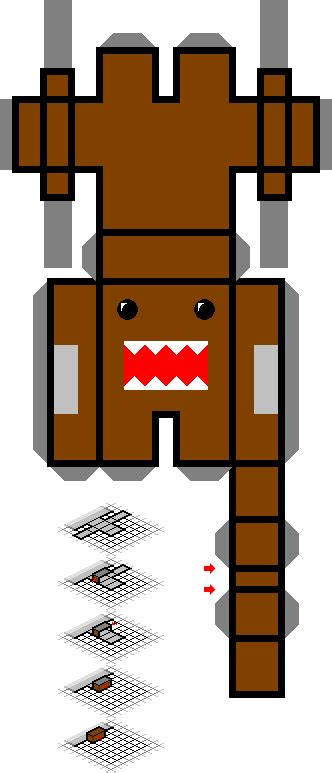 Domo Papercraft - tiny paper domo kun template by subatomicsushi on deviantart
