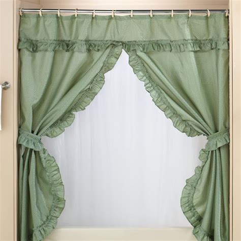 bathroom valance curtains double swag shower curtains with valance home walter drake