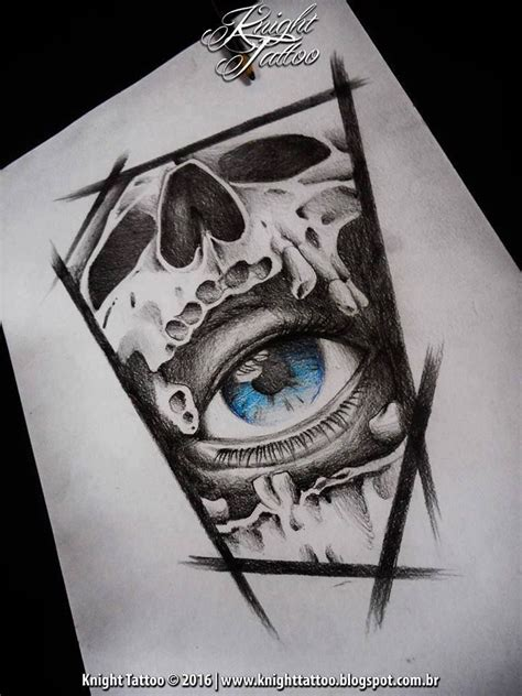 sketch skull eye knighttattoo tattoos pinterest