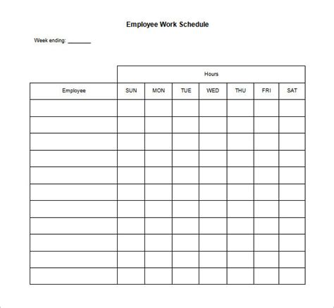 blank work schedule template 17 free word excel