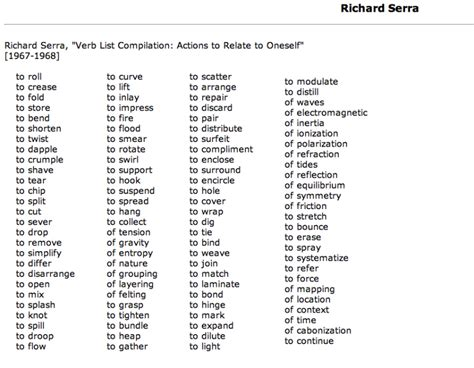 richard serra s verb list serra s list of verbs verbs list richard serra and