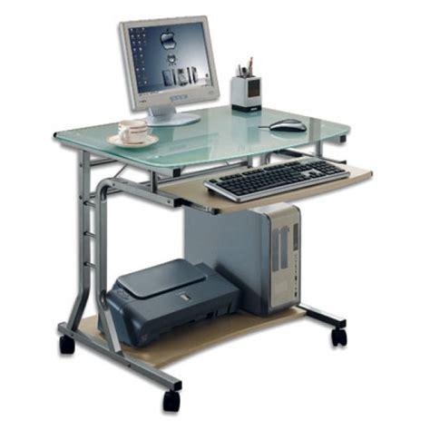 scrivania per computer fisso scrivania per pc compatta in metallo e vetro con ruote
