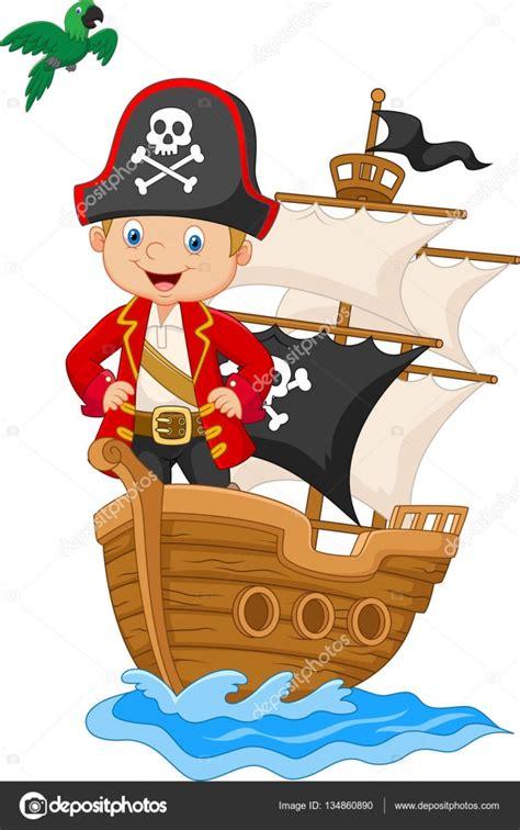 dibujos animados barcos piratas dibujos animados de peque 241 o pirata en su barco vector de