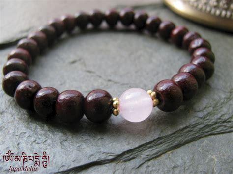 guru bead rosewood bracelet mala with quartz guru bead purified