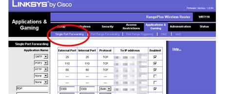 port range beware of new linksys layout and port range forwarding