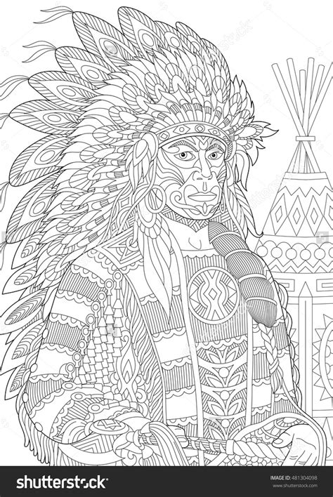 headdress coloring page red indian chief redskin man wearing traditional