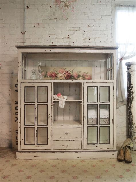Painted Cottage Chic Shabby Cape Cod Farmhouse Cabinet shabby chic china cabinet [CC28]   $995