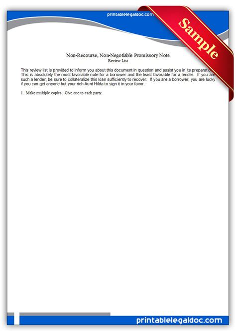 Free Printable Note Non Recourse Non Negotiable Form Generic Non Recourse Loan Template