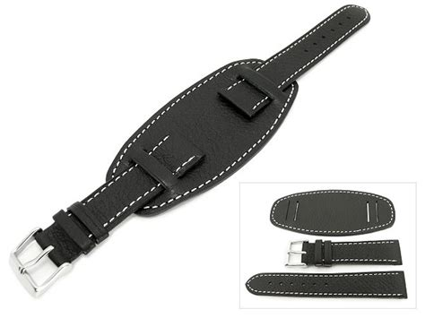 u boat watch bands watch band he lb67 20mm black with leather pad