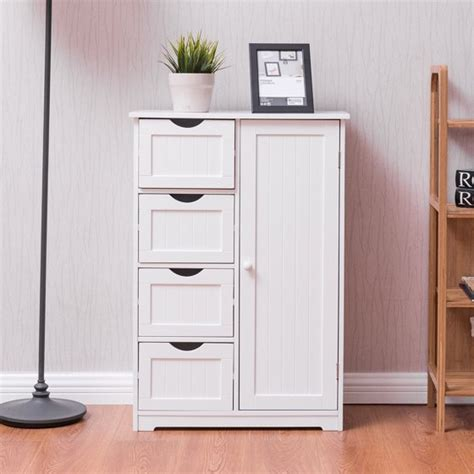 bathroom storage drawers costway wooden 4 drawer bathroom cabinet storage cupboard 2 shelves free standing white