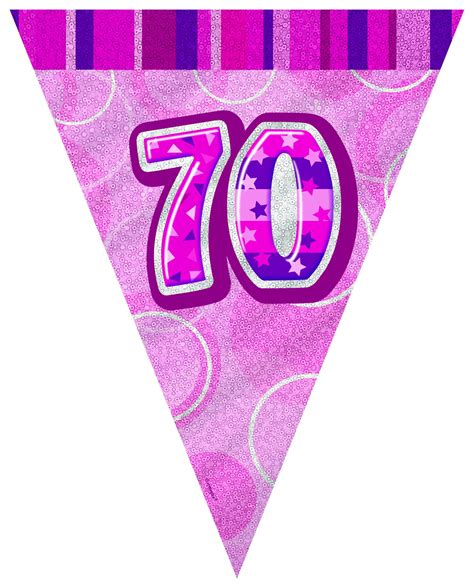 Flag Banner Anniversary Pink Dan Blue 70th flag banner 70th birthday supplies fever fever