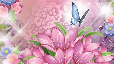 wallpaper flower and butterfly blue butterfly and pink flowers wallpaper hd images from