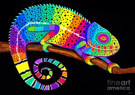 Colored Duvet Covers Rainbow Chameleon Painting By Nick Gustafson
