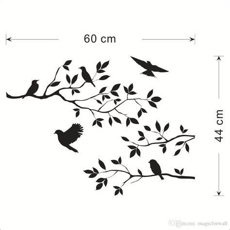 black bird  tree branch leaves wall sticker decal