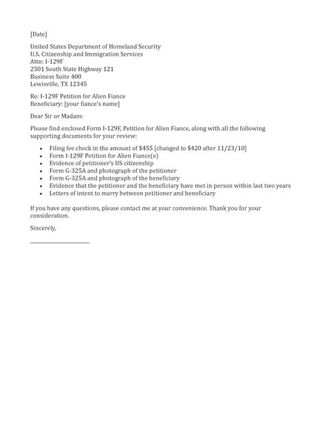 Visa Cover Letter Application Letter Sle Fiance Visa Cover Letter Sle
