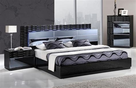 Lighted Headboard Bedroom Set by Lacquered Exclusive Quality Platform And Headboard Bed San