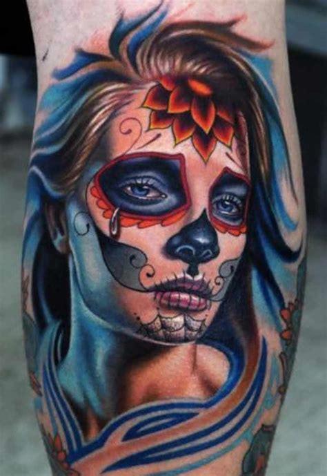 tattoo frau mit dead skull verzierung tattoo vorlagen bilder